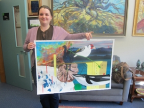 annasharman 2011 holding winning artwork for kiwis in la comp