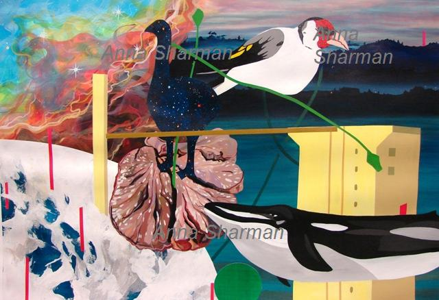 anna sharman 90 x 60 cm new Zealand montage acrylic on paper
