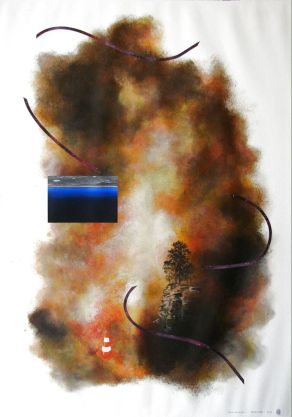 From fire (2012) by Anna Sharman Acrylic on gessoed Fabriano